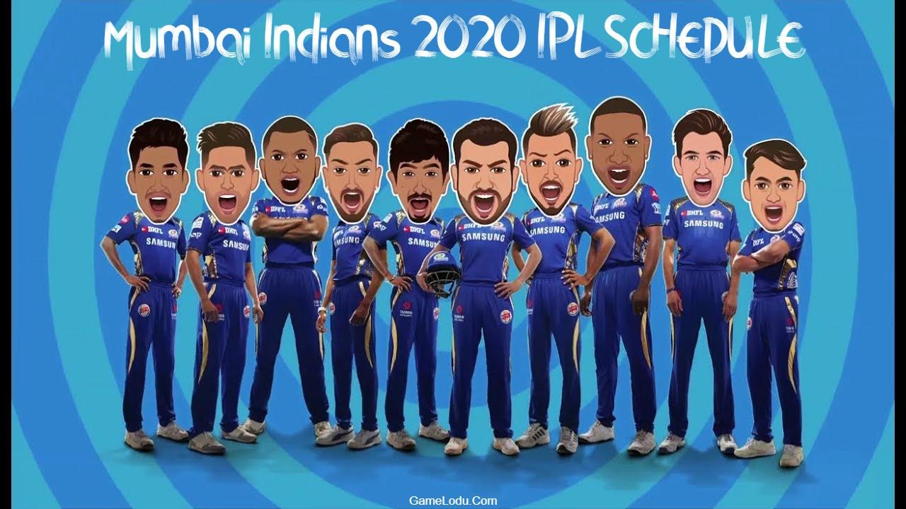 Mumbai Indians 2020 IPL SCHEDULE