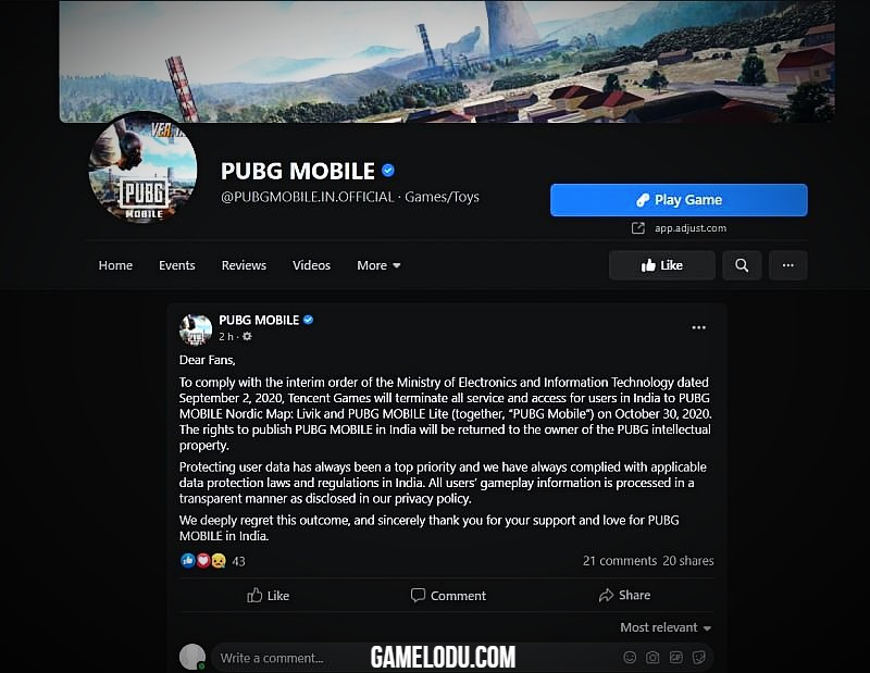Official post on PUBG mobile website