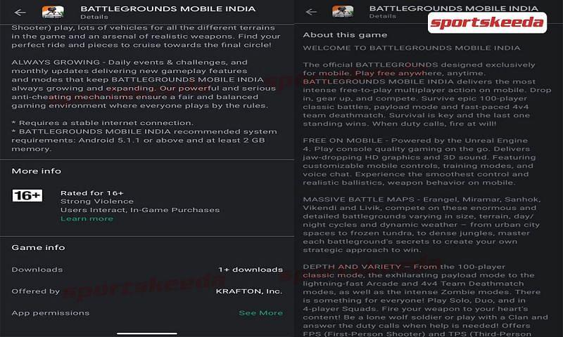 Battlegrounds Mobile India's Play Store description leak